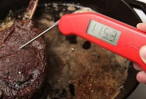 Thermapen Probing Steak in Pan