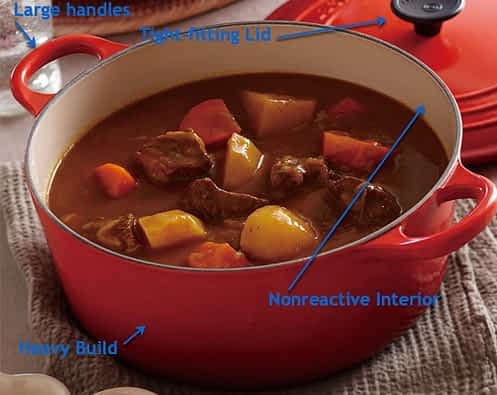 Le Creuset Dutch oven with callouts