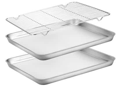 set of baking sheets and cooling rack