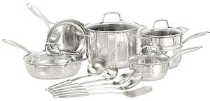 Amazon Basics 15 Pc Stainless Cookware Set