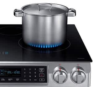 Samsung induction range with virtual flames