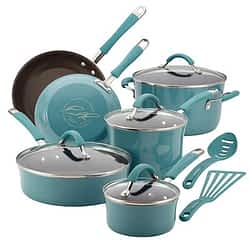Rachel Ray PTFE nonstick cookware with enameled exterior