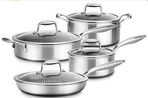 NutriChef 8 Piece Triply Cookware Set w:DAKIN Etching Nonstick