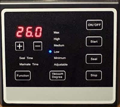 Pro2500 chamber vacuum sealer control panel