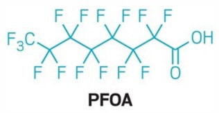 PFOA Molecule - What is PFOA? A Guide to Chemicals in Nonstick Cookware